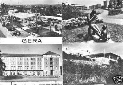 Ansichtskarte, Gera, vier Abb., u.a. Haus d. Bergmanns, 1981