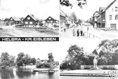 Ansichtskarte, Helbra Kr. Eisleben, vier Abb., 1987