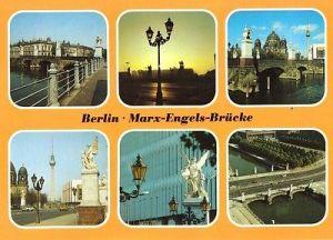 Ansichtskarte, Berlin Mitte, Marx-Engels-Brücke, 6 Abb., 1988