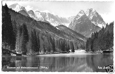 Ansichtskarte, Rissersee mit Wettersteinmassiv, 1956