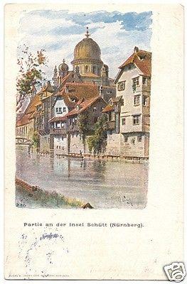 Ansichtskarte, Nürnberg, Partie an der Insel Schütt, Künstlerkarte, 1902