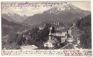 Ansichtskarte, Berchtesgaden, Teilansicht, Lichtdruck, um 1905
