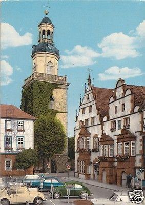 Ansichtskarte, Rinteln Weser, Marktplatz mit Kirche, zeitgen. Pkw, um 1973