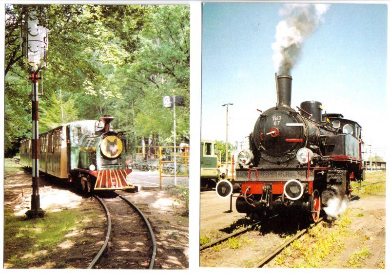 Zwei Ansichtskarte, Historische Dampf-Lokomotiven, um 2000