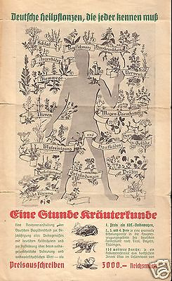 Faltblatt, Eine Stunde Kräuterkunde, Infos zu 46 Kräutern und Gewinnspiel, 1938