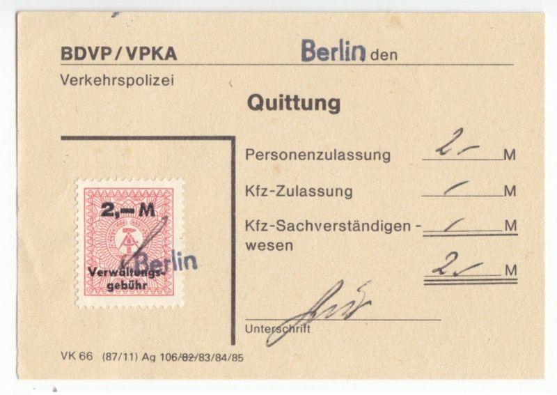 Quittung der Verkehrspolizei Berlin mit Verwaltungsgebühren-Marke, 1985 0