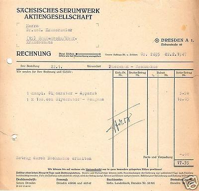 Rechnung, Sächsisches Serumwerk AG, Dresden A 1, 22.2.1947