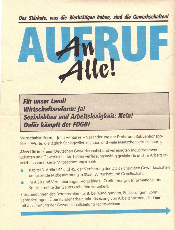 Flugblatt im Vorfeld des Außerordentlichen FDGB-Kongresses Anfang 1990