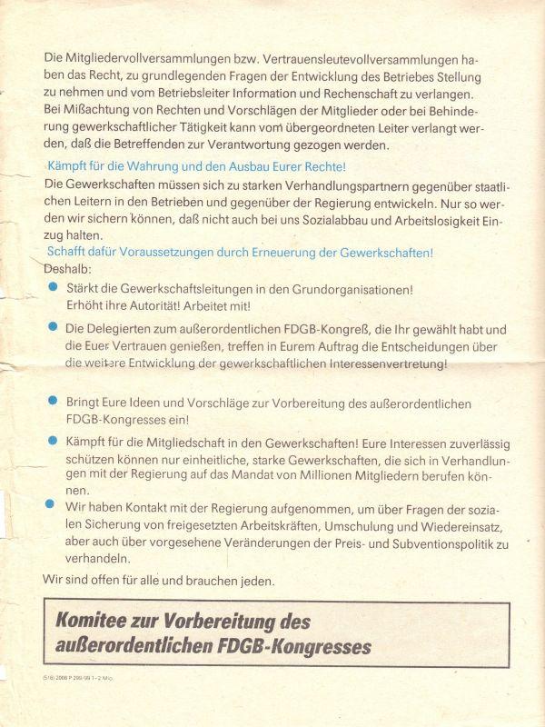 Flugblatt im Vorfeld des Außerordentlichen FDGB-Kongresses Anfang 1990 1