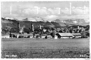 Ansichtskarte, Isny im Allgäu, Teilansicht, 1958