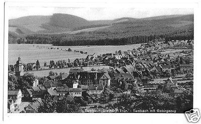 Ansichtskarte, Tambach-Dietharz, Ortsteil Tambach mit Gebirgszug, um 1950