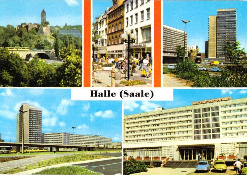 Ansichtskarte, Halle Saale, fünf Abb., 1979