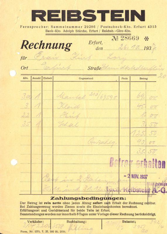 Rechnung, Fa. Reibstein AG, Erfurt, 1937