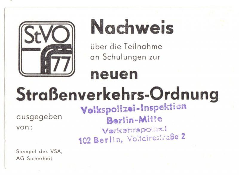 Nachweis der VPI Berlin - Mitte über Schulungsteilnahme, Neue StVo 1977