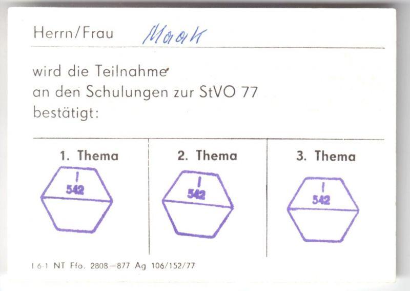 Nachweis der VPI Berlin - Mitte über Schulungsteilnahme, Neue StVo 1977 1