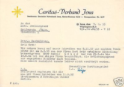 Anschreiben, Caritas-Verband Jena an Kath. Seelsorgeamt Gräfenroda, 3.2.53