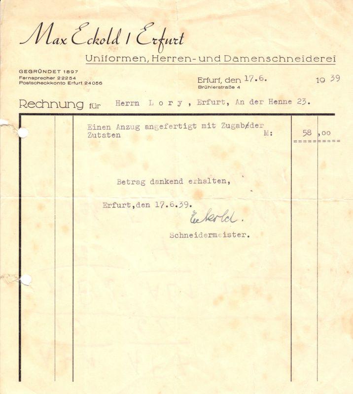 Rechnung, Fa. Max Eckold, Schneiderei, Erfurt, 1939