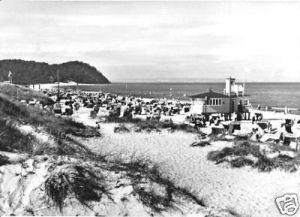 Ansichtskarte, Baabe Rügen, Strand mit Rettungsstation, 1962