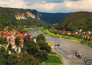 Ansichtskarte, Stadt Wehlen Sächs. Schweiz, Blick auf Stadt Wehlen und die Bastei, 1998