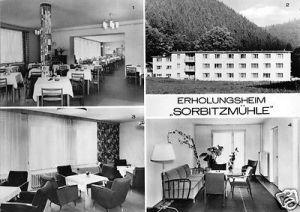 Ansichtskarte, Döschnitz Kr. Rudolstadt, Erholungsheim Sorbitzmühle, vier Abb., 1975