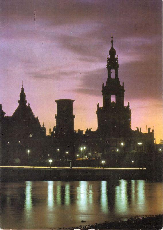 Ansichtskarte, Dresden, Terrassenufer in der Dämmerung, 1986