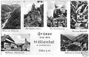 Ansichtskarte, Grüsse aus dem Höllental im Schwarzwald, 6 Abb., gestaltet, um 1961