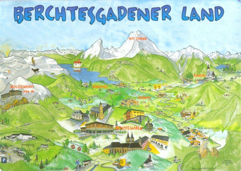 Berchtesgadener Land Karte.Ansichtskarte Berchtesgadener Land Reliefkarte Mit Sehenswürdigkeiten 2000