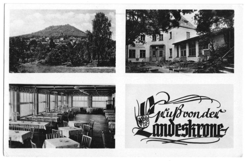 Ansichtskarte, Görlitz, Gruß von der Landeskrone, drei Abb., 1955