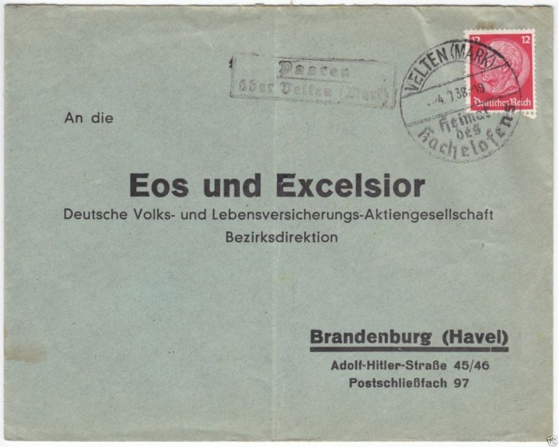 Landpoststempel, Poststelle II, Paaren über Velten Mark, Velten (Mark), 4.7.38