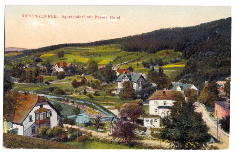 Ansichtskarte, Ober-Agnetendorf, Jagniatków, Teilansicht 2, um 1916
