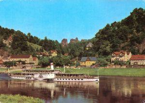Ansichtskarte, Kurort Rathen Sächs. Schweiz, Teilansicht mit Elbdampfer