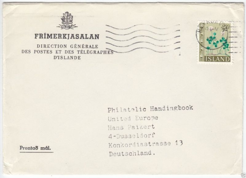 Bedarfspostbrief, Island, Michel 384 EF, Reykjavik, 15.V.1965