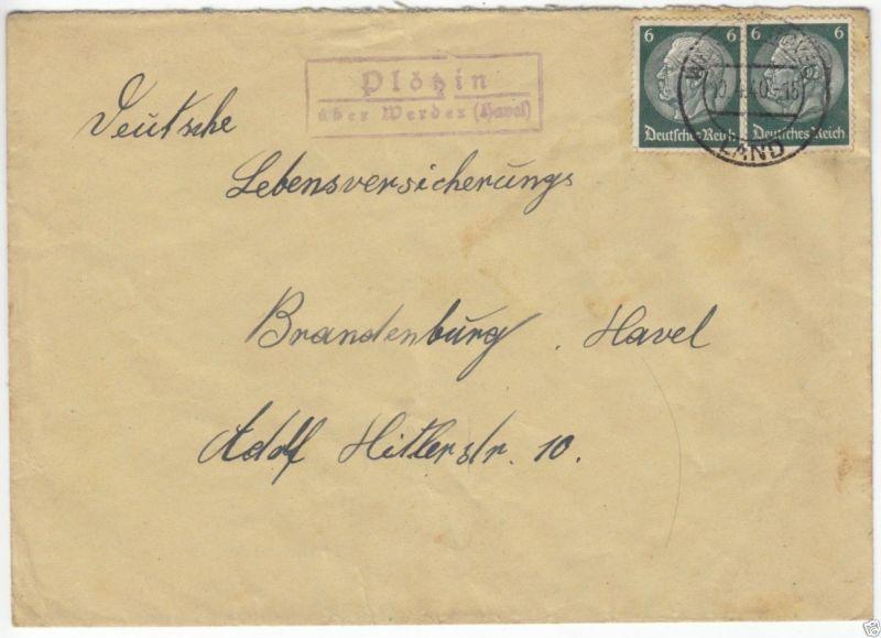 Landpoststempel, Poststelle II, Plötzin über Werder (Havel), Werder, 10.4.40