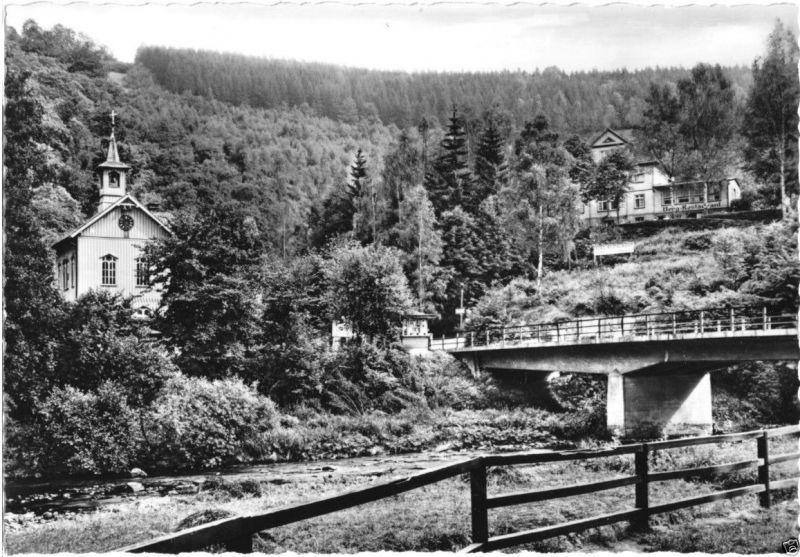 Ansichtskarte, Treseburg Harz, An der Bodebrücke, 1960