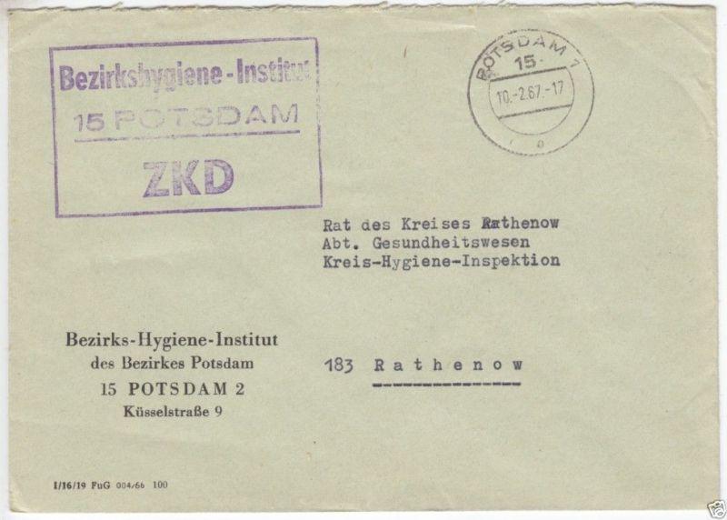 ZKD-Brief, Bezirkshygiene-Institut, 15 Potsdam, o Potsdam 1, 15, 10.2.67