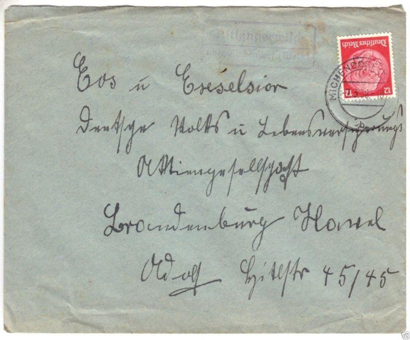 Landpoststempel, Poststelle II, Altlangerwisch über Michendorf (Mark), 7.3.38