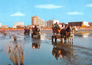 Ansichtskarte, Cuxhaven - Duhnen, Wattwagen bei der Abfahrt, 1979