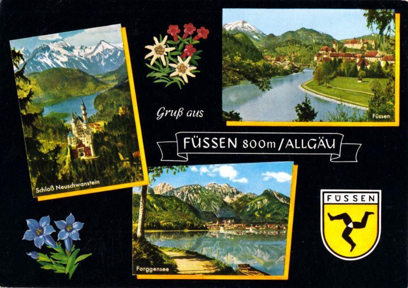 Ansichtskarte, Füssen Allgäu, drei Abb., gestaltet, 1981