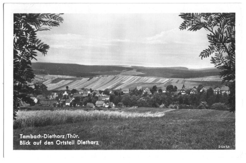 Ansichtskarte, Tambach-Dietharz Thür., OT Dietharz, Totale, 1951
