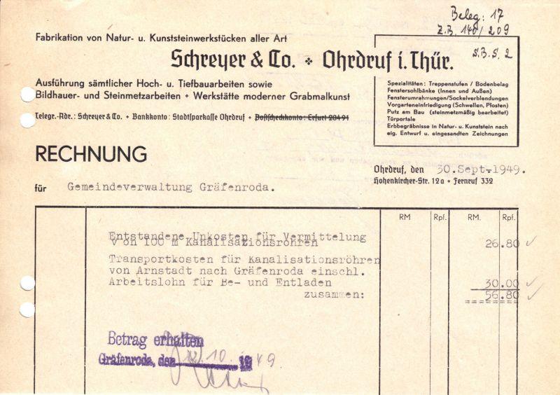 Rechnung, Fa. Schreyer & Co., Ohrdruf i. Thür., Bauunternehmen, 30.09.49