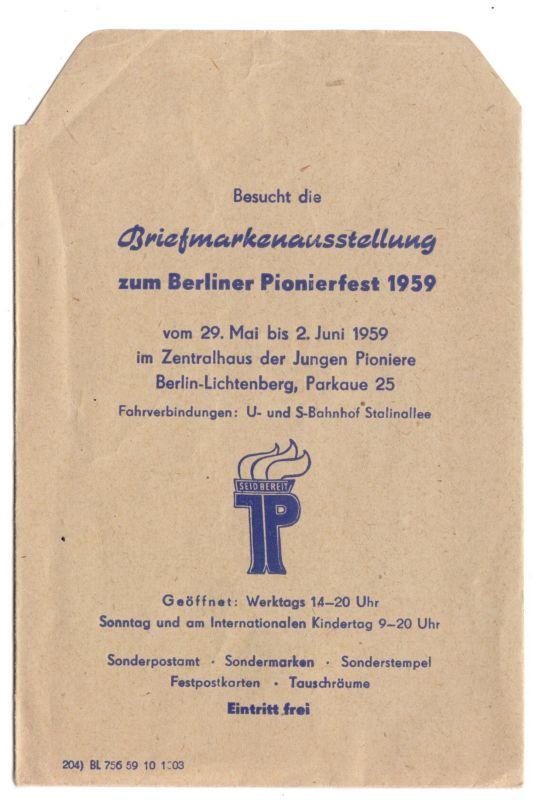 Werbetüte, Berlin Lichtenberg, Briefmarkenausstellung Pionierfest 1959