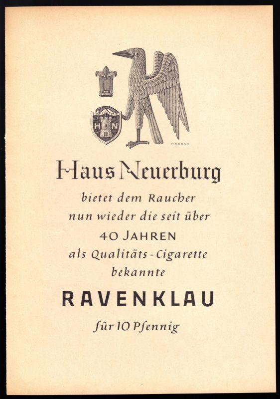 Zeitschriftenwerbung, Fa. Haus Neuerburg, Zigarette Ravenklau, 1950er