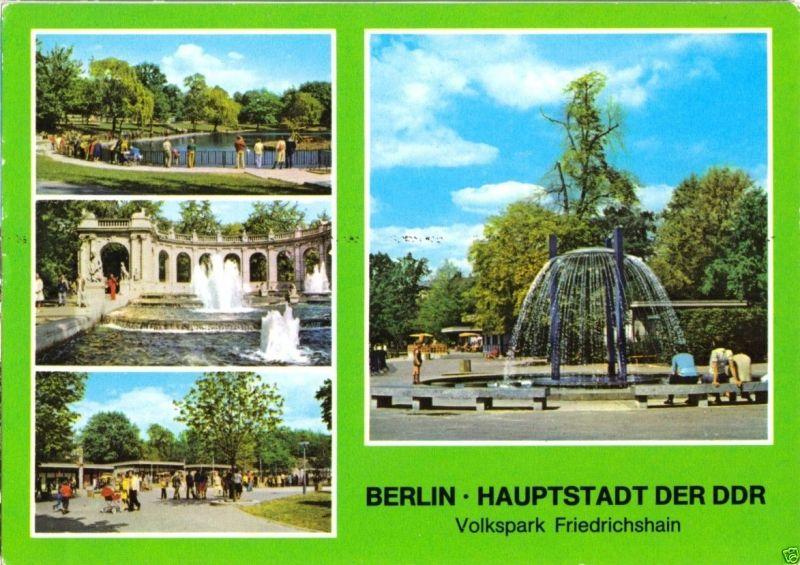 Ansichtskarte, Berlin Friedrichshain, Volkspark Friedrichshain, vier Abb., 1978
