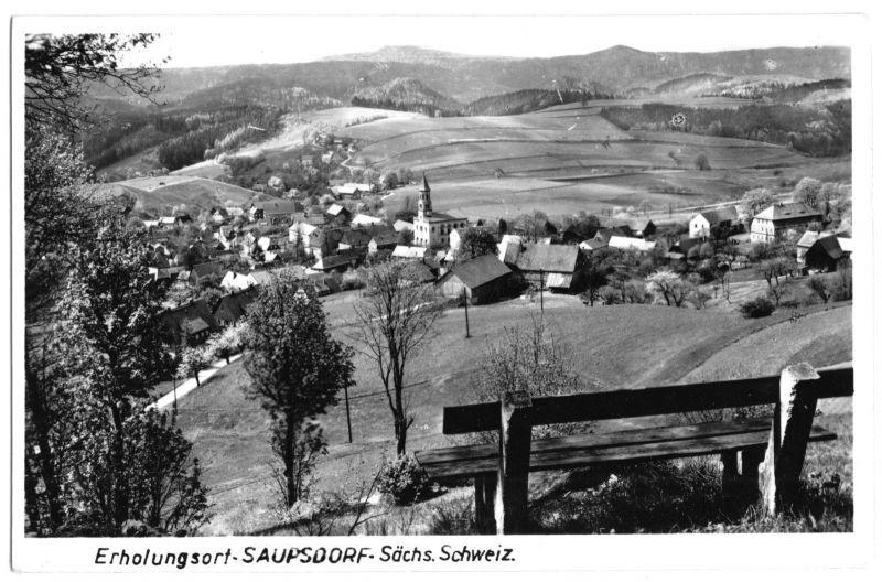 Ansichtskarte, Saupsdorf Sächs. Schweiz, Kr. Sebnitz, Gesamtansicht, 1960