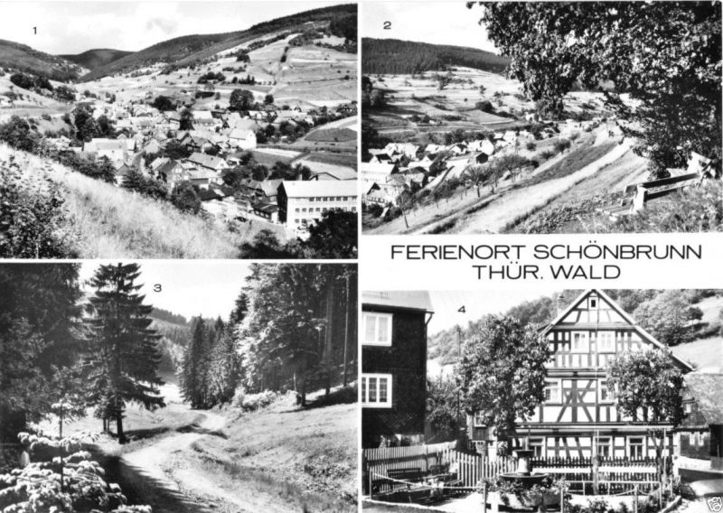 Ansichtskarte, Schönbrunn Kr. Hildburghausen, vier Abb., 1975