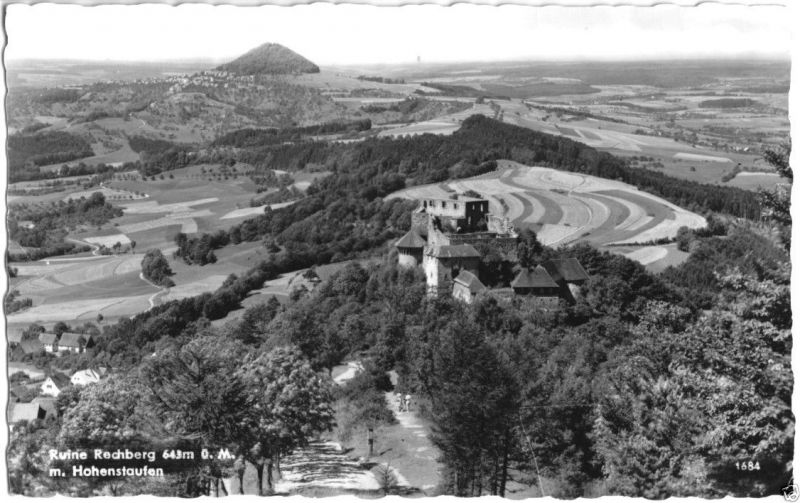 Ansichtskarte, Rechberg, Ruine Rechberg mit Blick zum Hohenstaufen, Luftbild, 1960