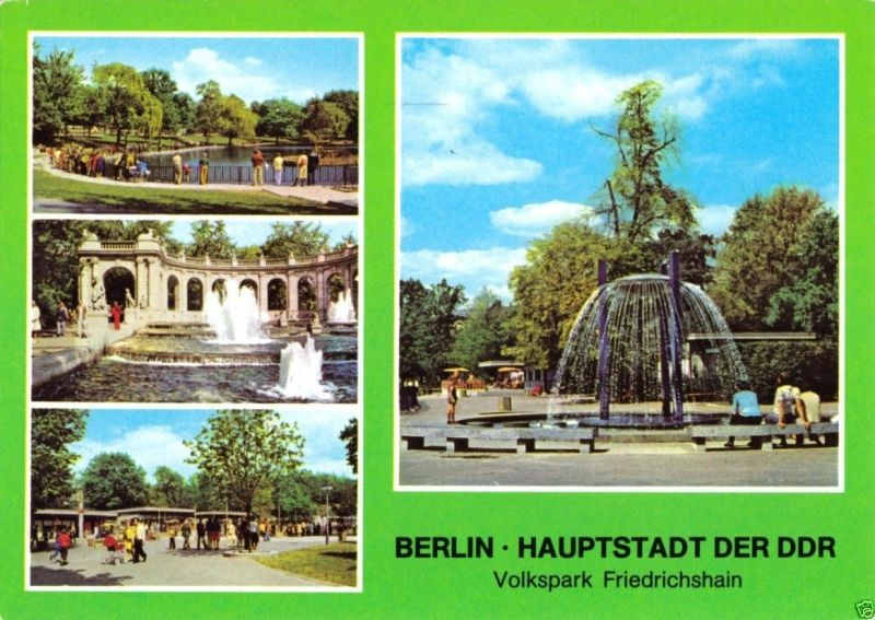 Ansichtskarte, Berlin Friedrichshain, vier Abb., Volkspark Friedrichshain, 1980