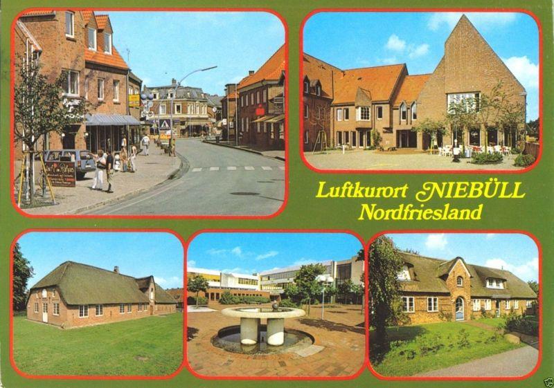 Ansichtskarte, Niebüll Nordfriesland, fünf Abb., 1990