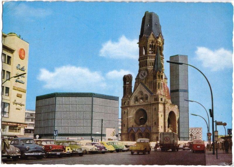 Ansichtskarte, Berlin Charlottenburg, Kaiser-Wilhelm-Gedächtniskirche, zeitgen. Pkw, 1966