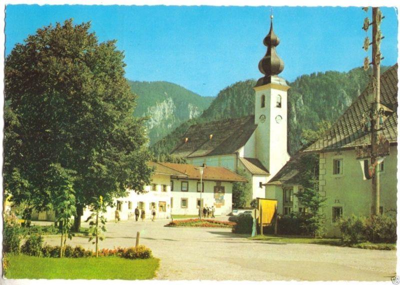 Ansichtskarte, Inzell Obb., Am Dorfplatz mit Kirche, 1976